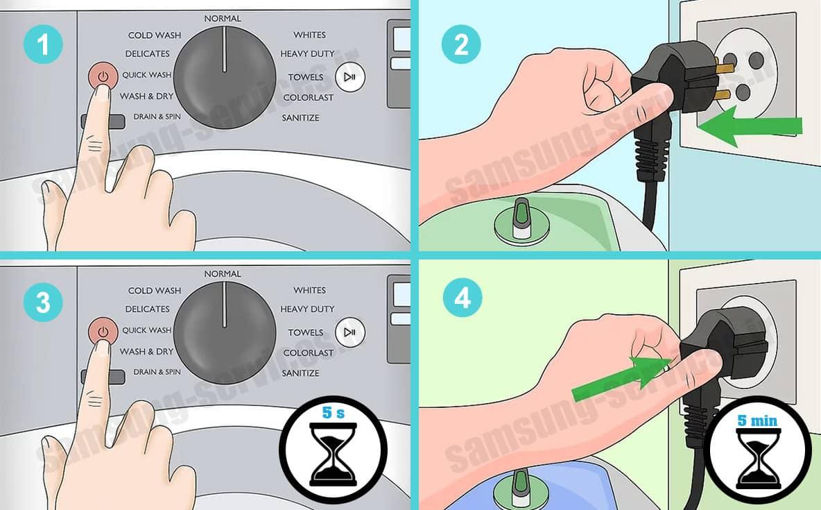رفع عیب ماشین لباسشویی سامسونگ با ریست کردن